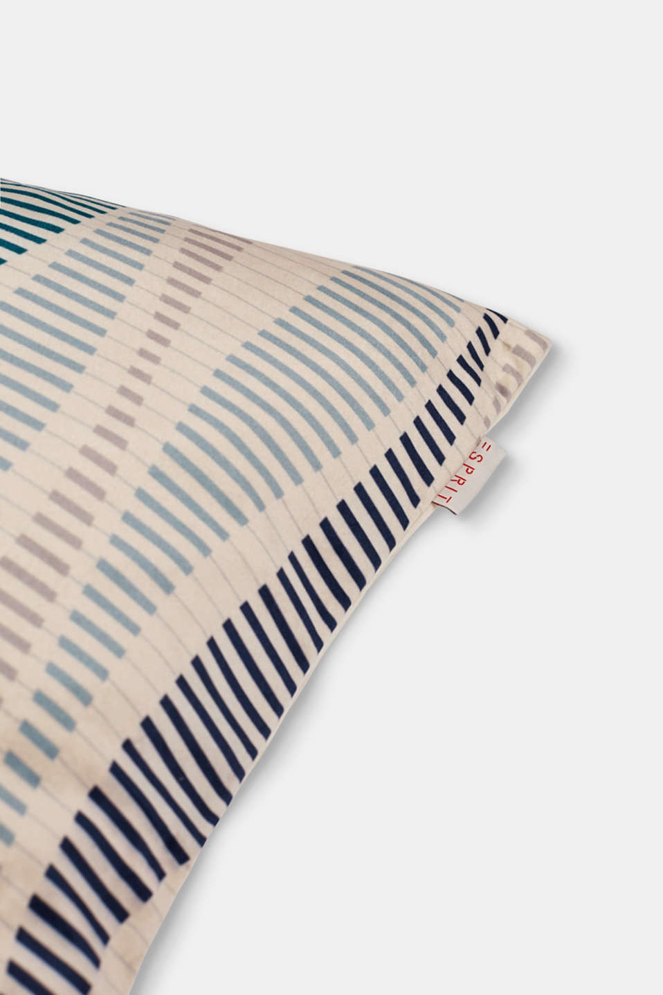 Velvet cushion cover with a stripe print, MULTICOLOR, detail image number 1