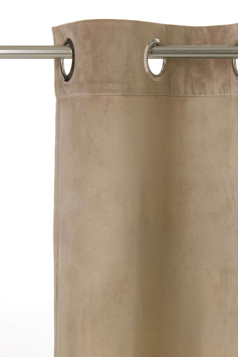 Velvet eyelet curtain, SAND, detail image number 1