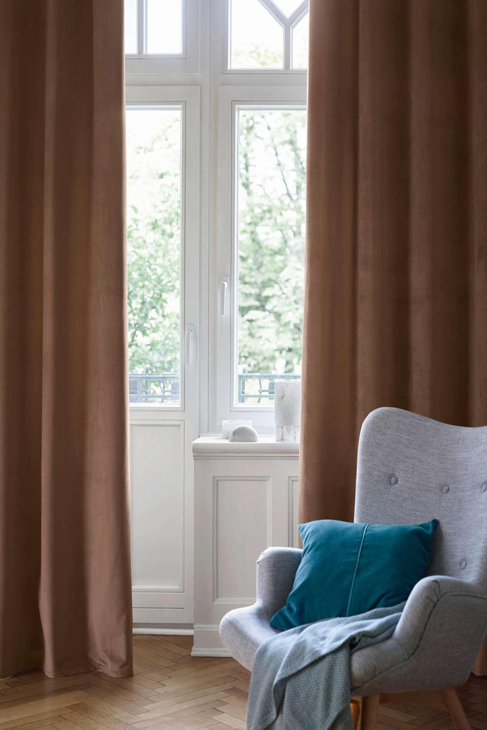 Velvet eyelet curtain, SAND, detail image number 0