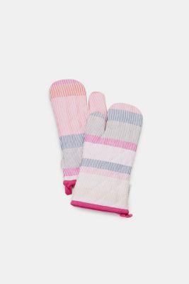 2-piece set of oven gloves in 100% cotton, PINK ORANGE, detail