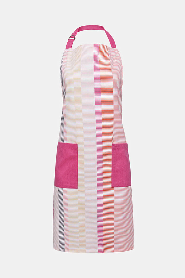 Apron with stripes, 100% cotton, PINK ORANGE, detail image number 0