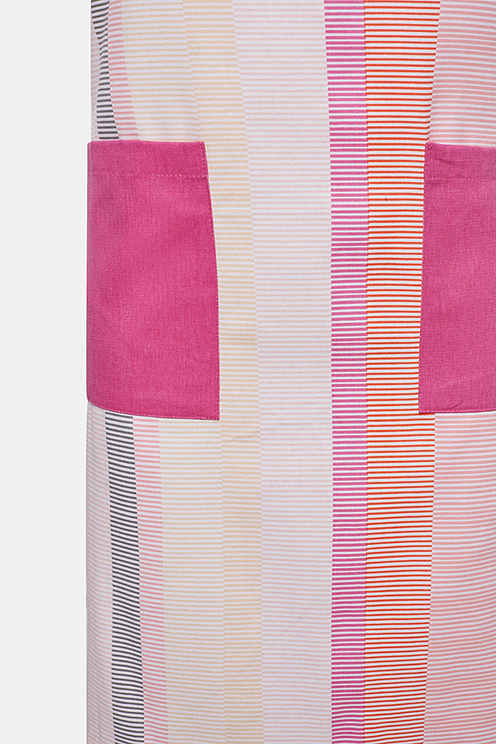 Apron with stripes, 100% cotton, PINK ORANGE, detail image number 2