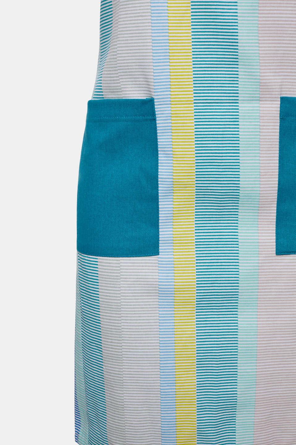 Apron with stripes, 100% cotton, BLUE MINT, detail image number 1