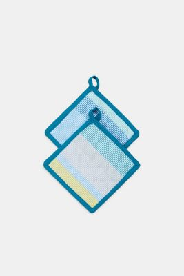 2-piece set of pot holders in 100% cotton, BLUE MINT, detail
