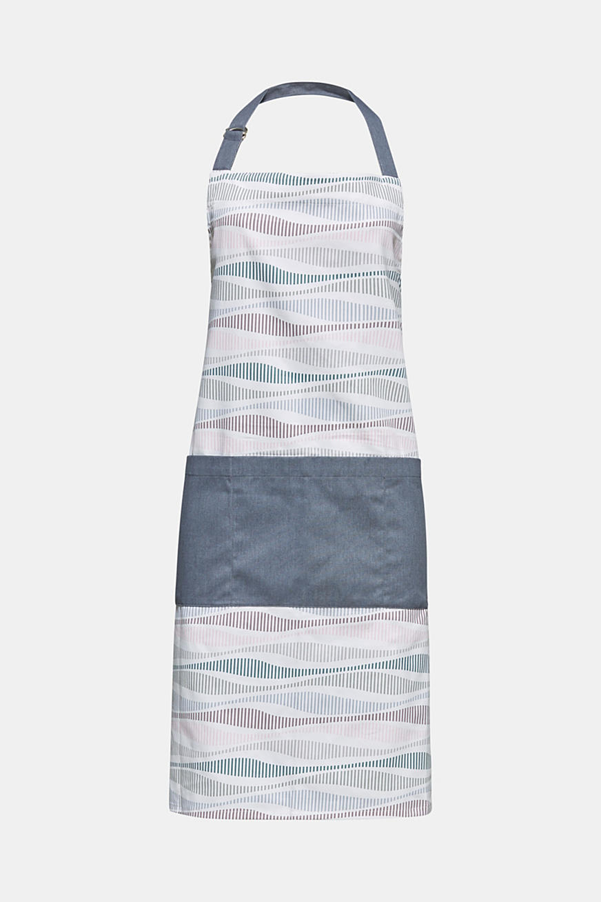 Kitchen apron with stripes, made of pure cotton