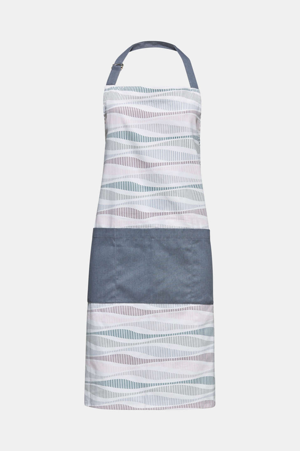 Kitchen apron with stripes, made of pure cotton, MULTICOLOR, detail image number 0