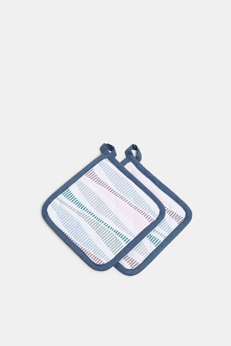 2-piece set of pot holders in 100% cotton, MULTICOLOR, detail image number 0