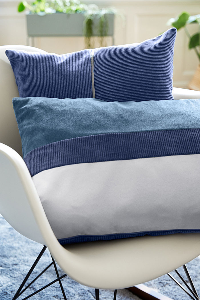 Cushion cover made of corduroy velvet, BLUE, detail image number 2