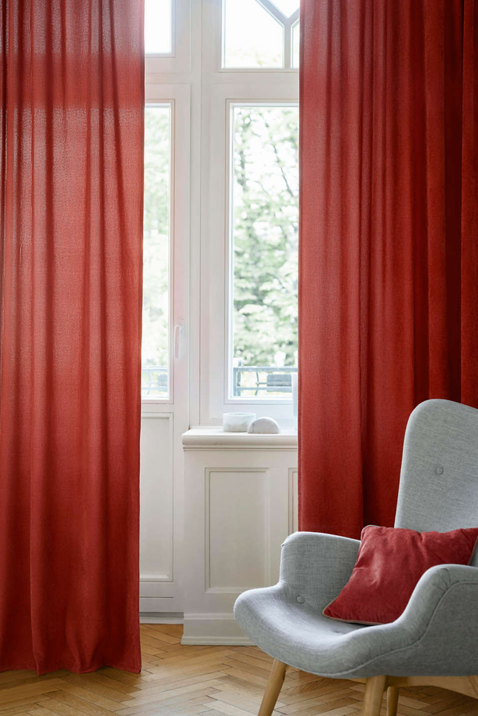 Corduroy curtains with concealed loops, CORAL, detail image number 1