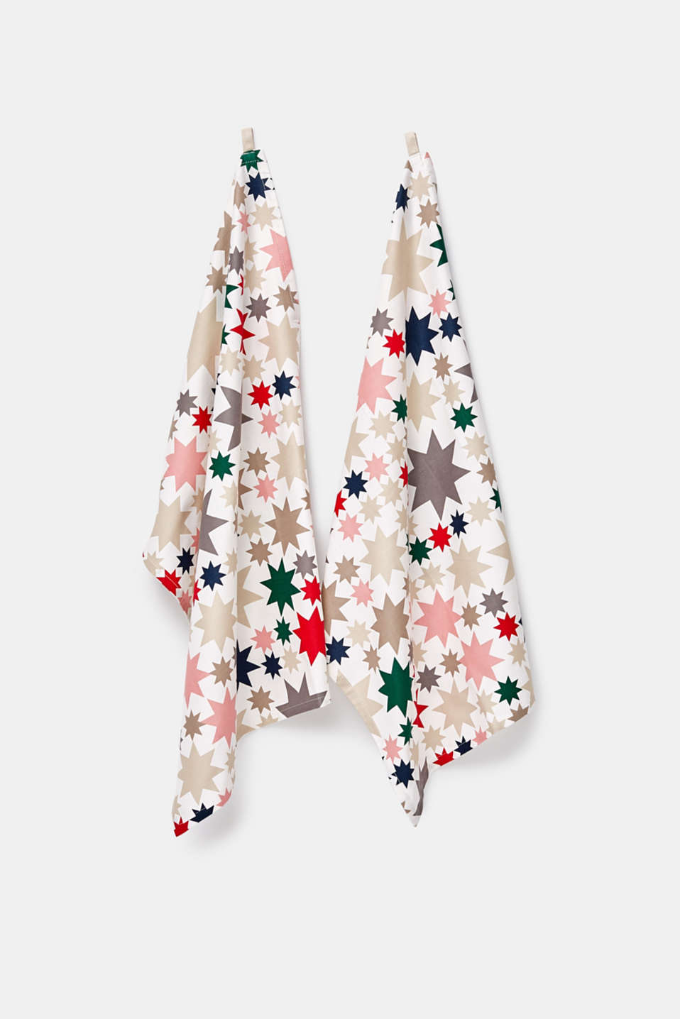 Double pack of tea towels with an Xmas print, MULTICOLOR, detail image number 1