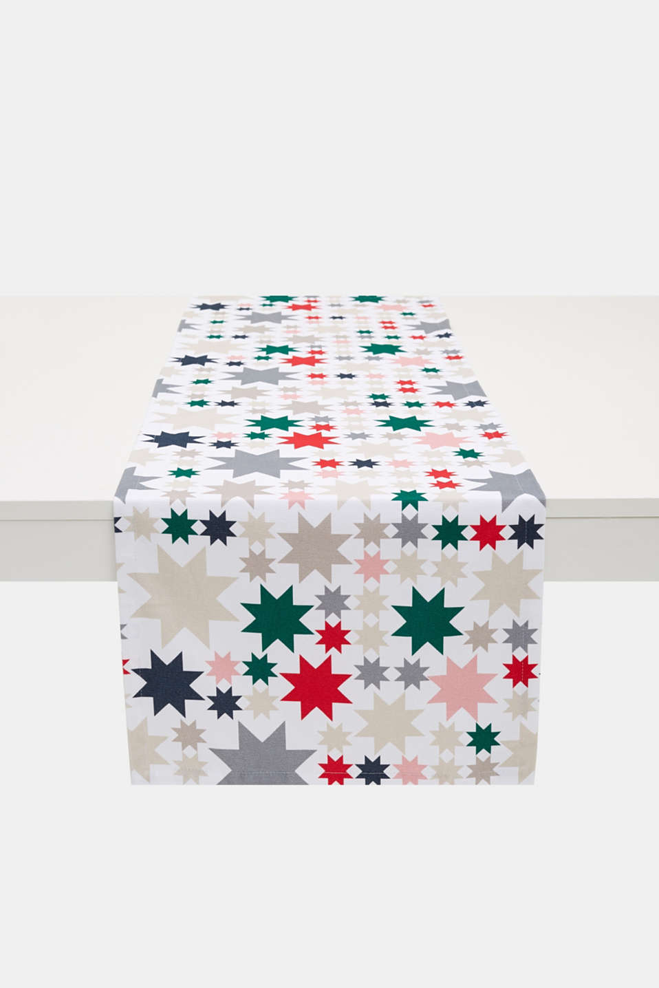 Table runner with a star print, 100% cotton, MULTICOLOR, detail image number 0