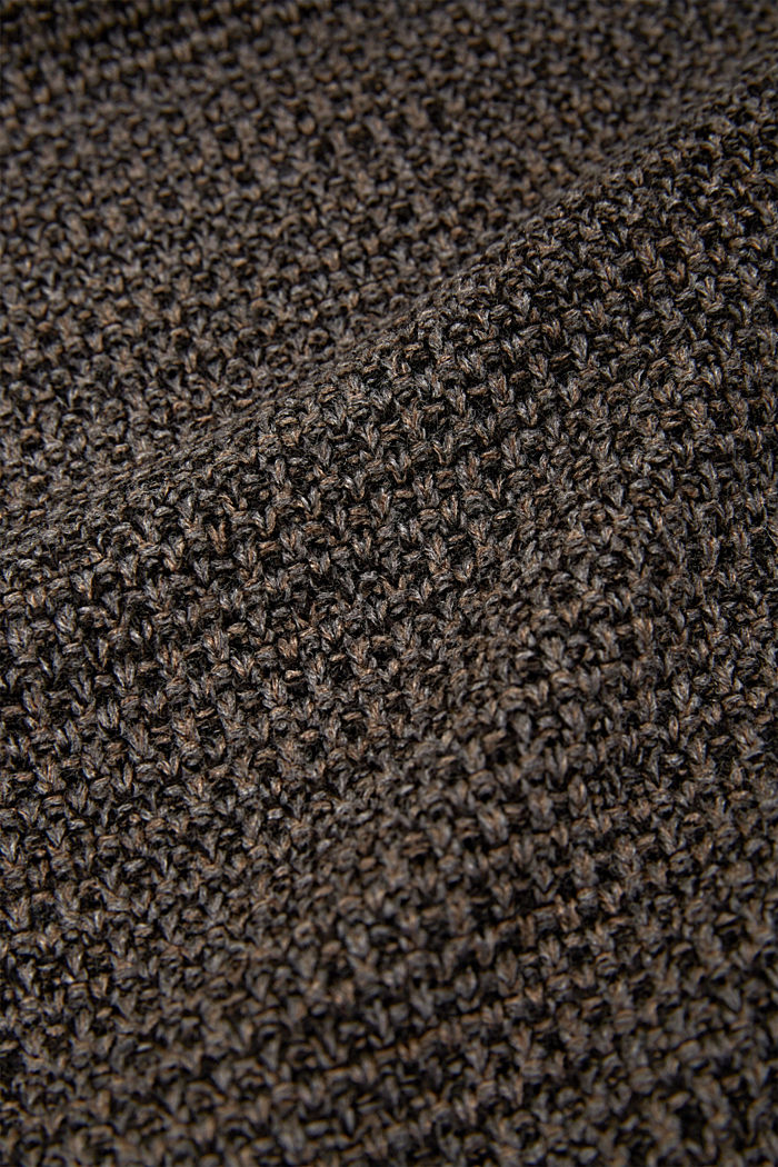 Knit plaid, BROWN, detail image number 1