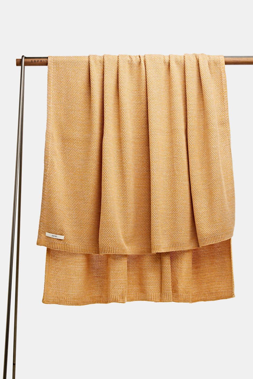 Knit plaid, LCMUSTARD, detail image number 0