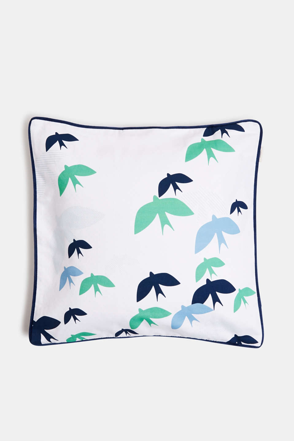 Cushion cover with velvet piping, 100% cotton, BLUE, detail image number 0