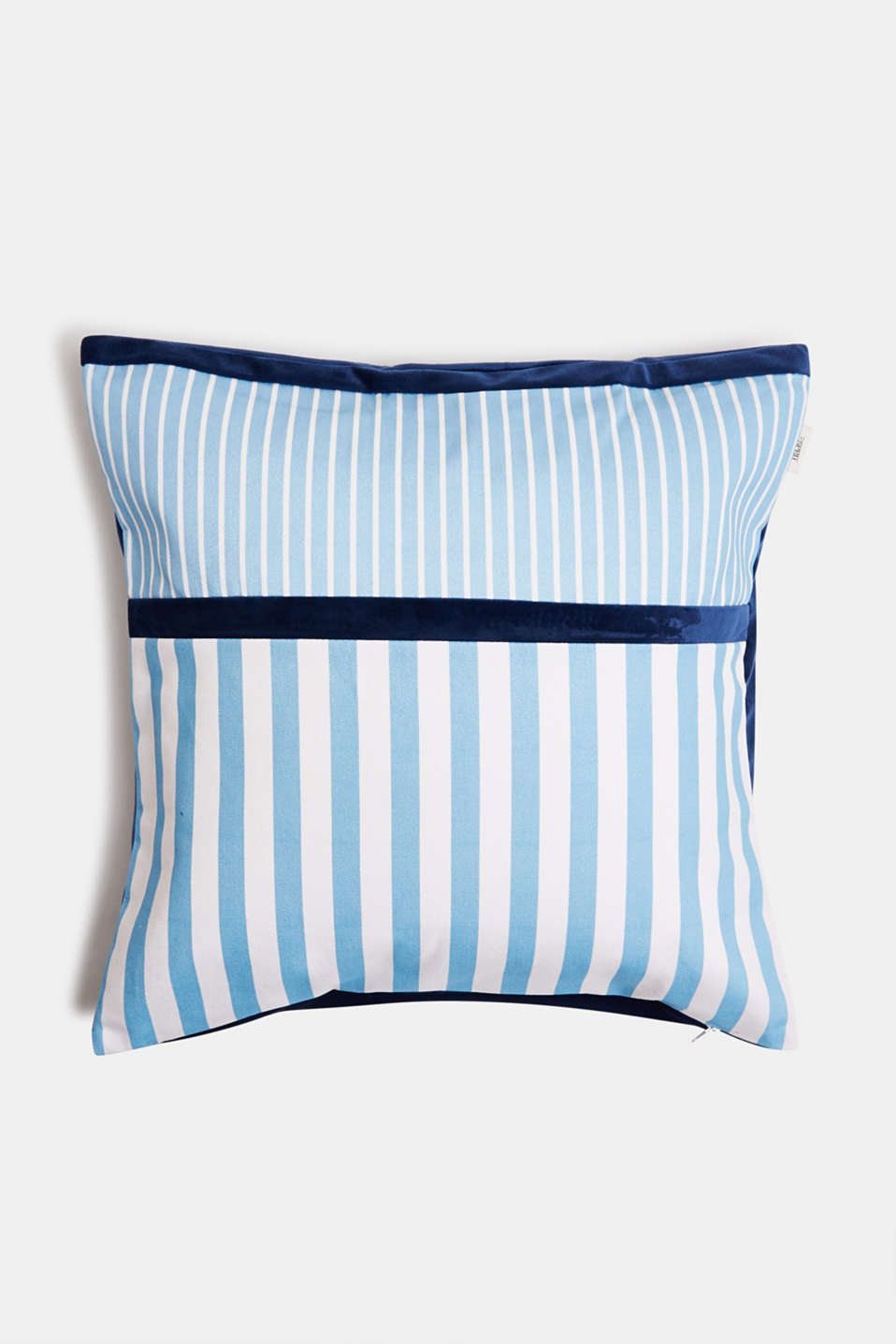 Striped cushion cover in a mix of materials, BLUE, detail image number 0