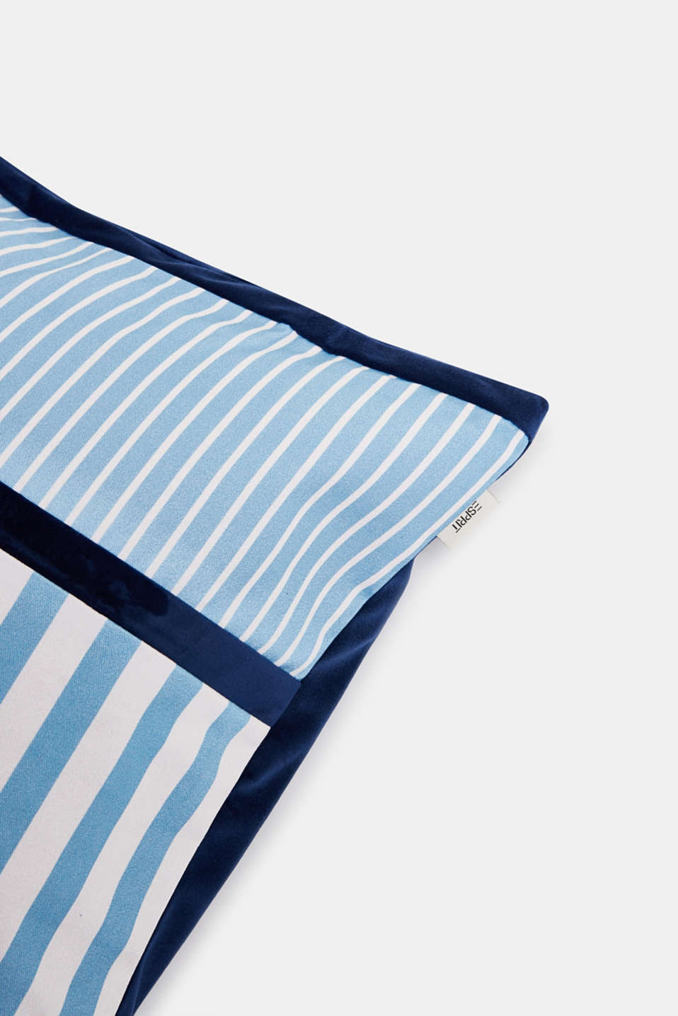 Striped cushion cover in a mix of materials, BLUE, detail image number 1