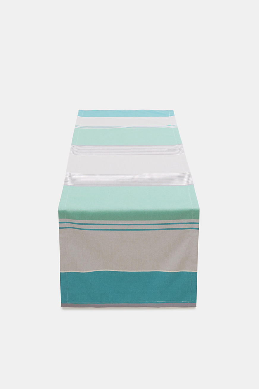 Table runner with multi-coloured stripes