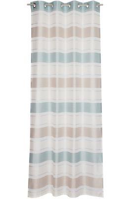 Eyelet curtain with stripes, AQUA, detail