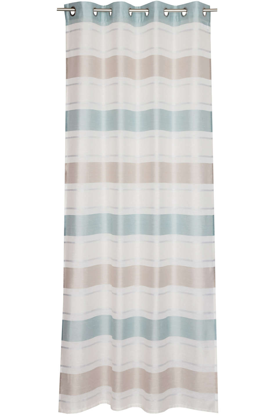 Eyelet curtain with stripes, AQUA, detail image number 0
