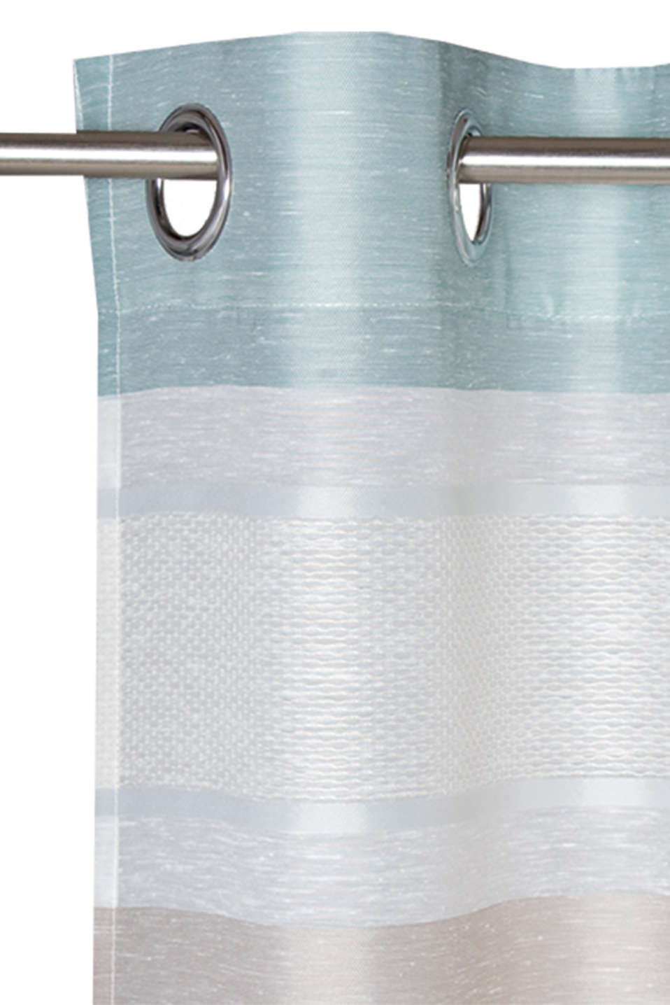 Eyelet curtain with stripes, AQUA, detail image number 1