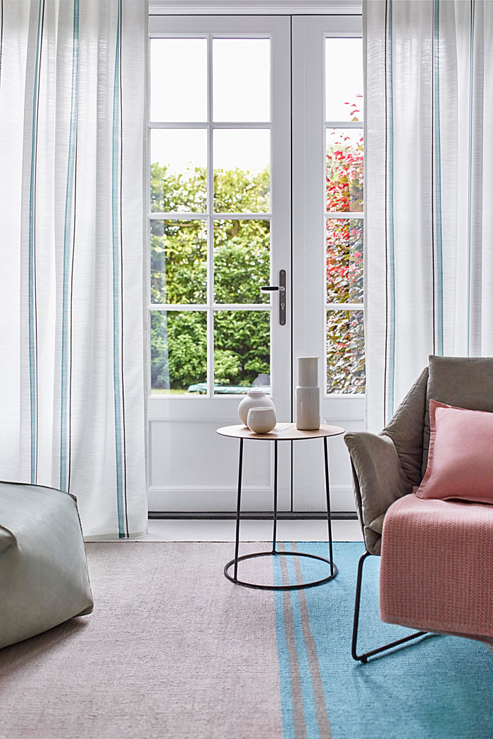 Curtain with vertical stripes, AQUA, detail image number 0