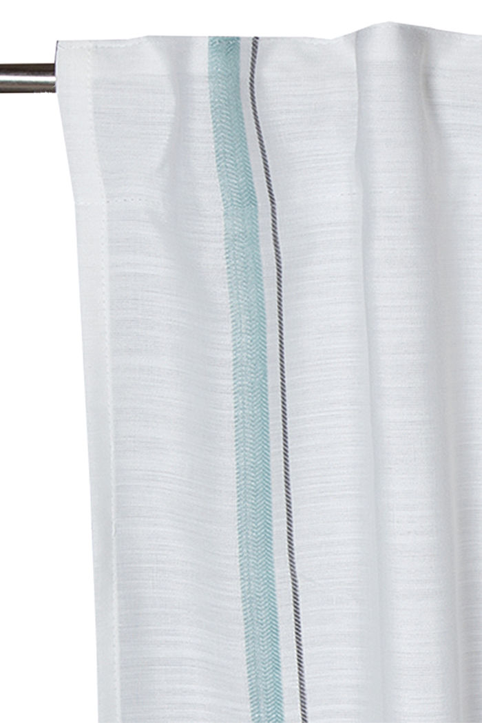 Curtain with vertical stripes, AQUA, detail image number 1