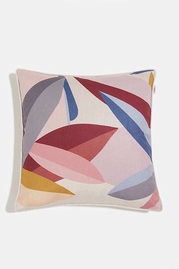 Cushion cover with a colourful leaf pattern