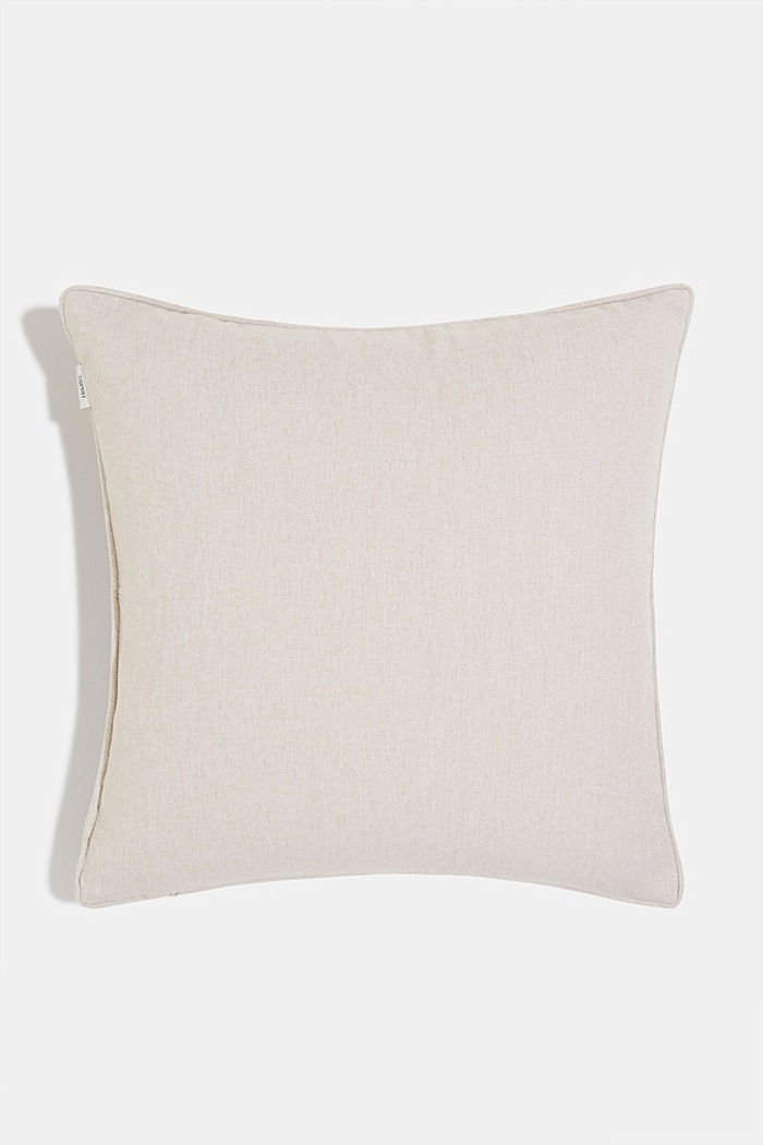 Cushion cover with a colourful leaf pattern, BEIGE, detail image number 2