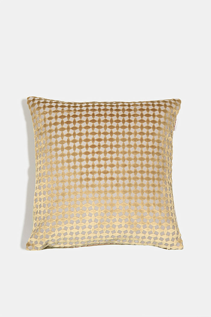 Velvet cushion cover with a diamond texture, BEIGE, detail image number 0