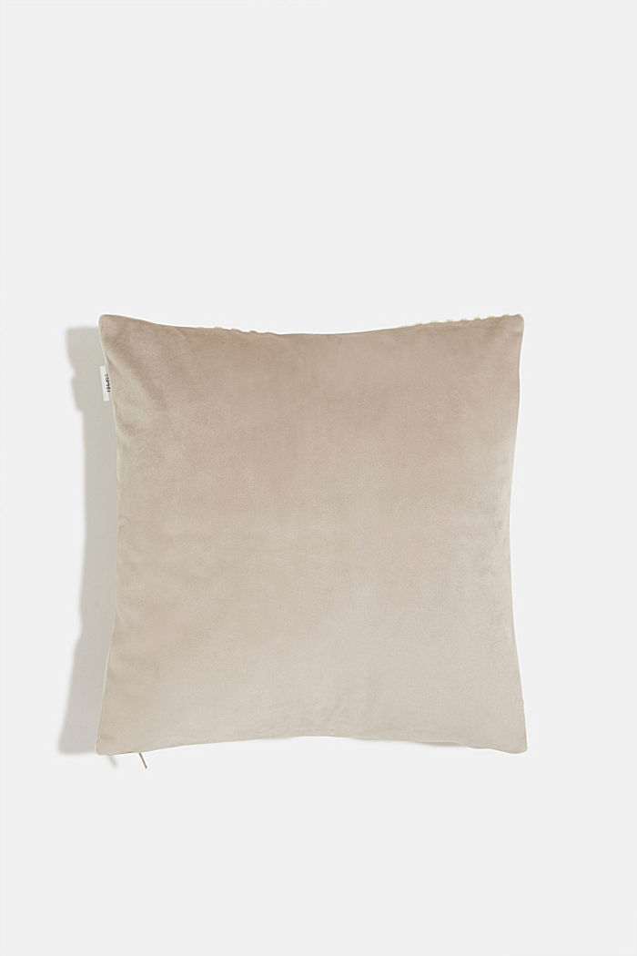 Velvet cushion cover with a diamond texture, BEIGE, detail image number 2