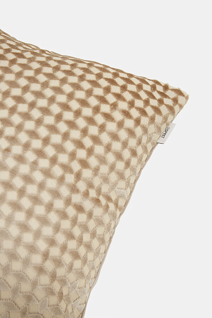 Velvet cushion cover with a diamond texture, BEIGE, detail image number 1