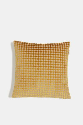Velvet cushion cover with a diamond texture, CURRY, detail