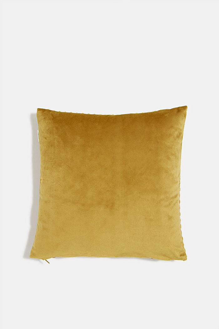 Velvet cushion cover with a diamond texture, CURRY, detail image number 2