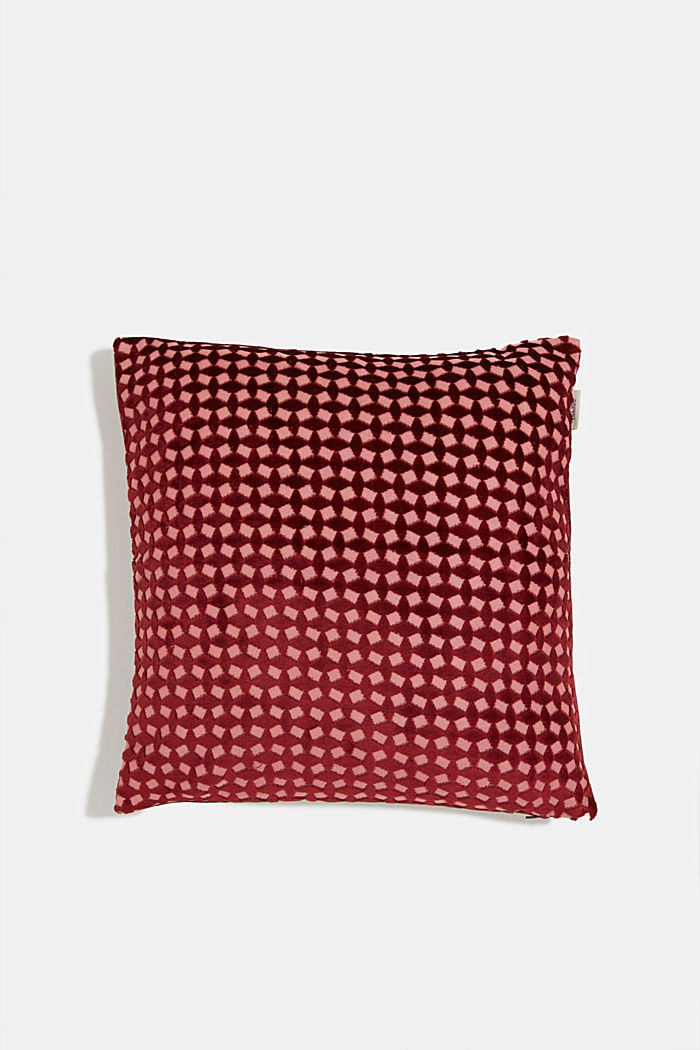 Velvet cushion cover with a diamond texture, WINE RED, detail image number 0