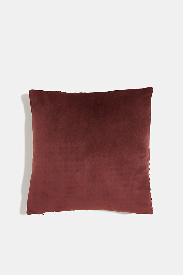 Velvet cushion cover with a diamond texture, WINE RED, detail image number 2