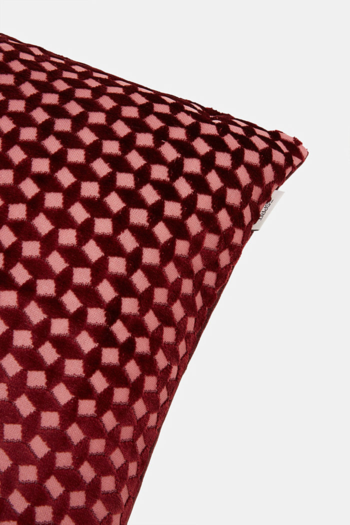 Velvet cushion cover with a diamond texture, WINE RED, detail image number 1