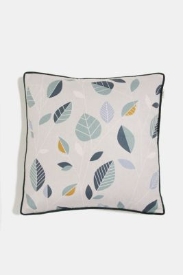 Cushion cover with a leaf pattern, GREEN, detail