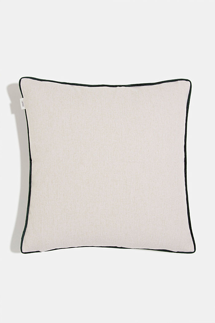 Cushion cover with a leaf pattern, GREEN, detail image number 2