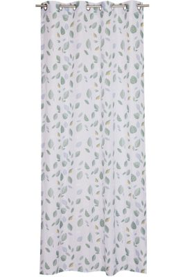 Eyelet curtain with leaf pattern, GREEN, detail