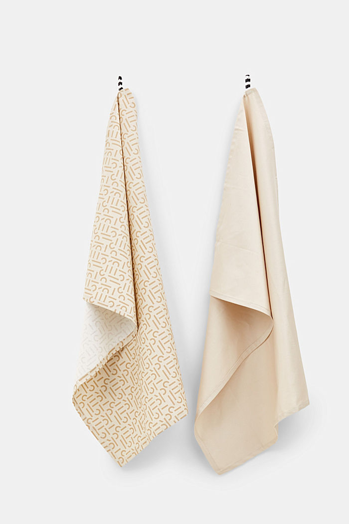 Double pack of dish towels with a printed logo, BEIGE, detail image number 0