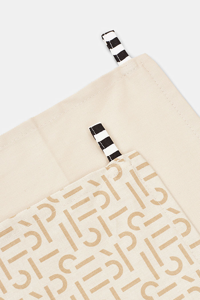 Double pack of dish towels with a printed logo, BEIGE, detail image number 2