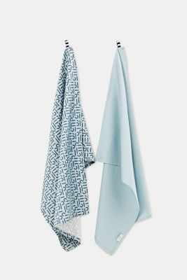 Double pack: 100% cotton tea towels, AQUA, detail