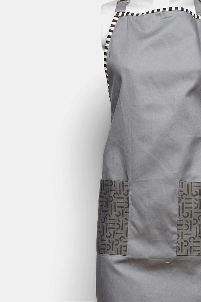Apron with logo pockets, 100% cotton, ANTHRAZIT, detail image number 1