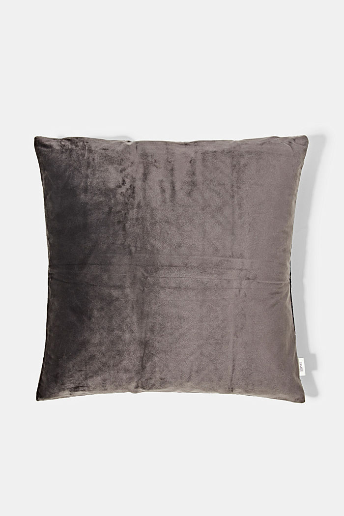 Topstitched cushion cover made of velvet, ANTHRACITE, detail image number 2