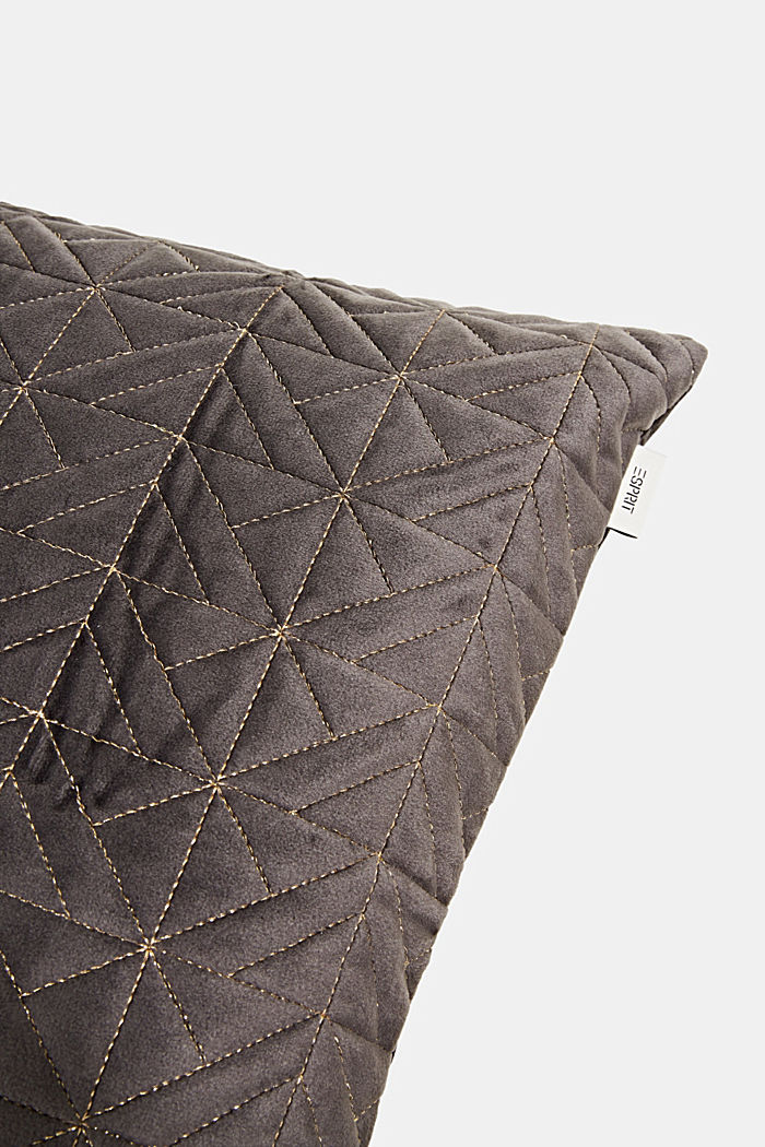 Topstitched cushion cover made of velvet, ANTHRACITE, detail image number 1