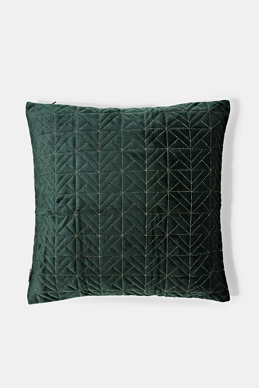 Topstitched cushion cover made of micro velvet
