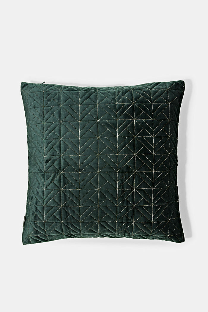 Topstitched cushion cover made of velvet