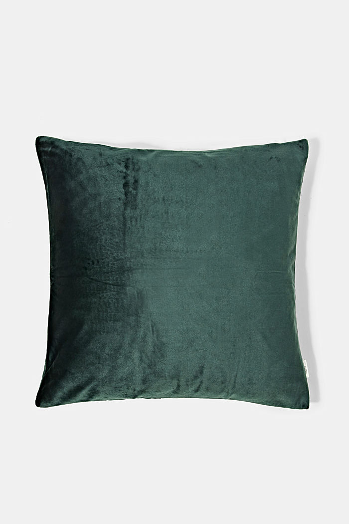 Topstitched cushion cover made of velvet, GREEN, detail image number 2