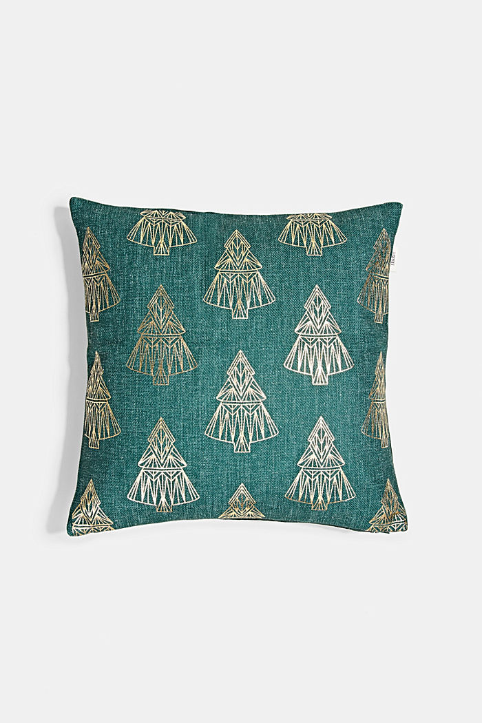 Cushion cover with a gold print, GREEN, detail image number 0