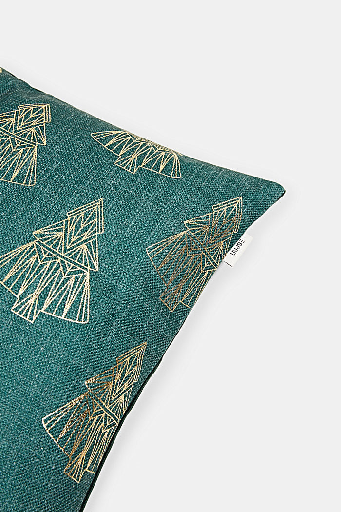 Cushion cover with a gold print, GREEN, detail image number 1